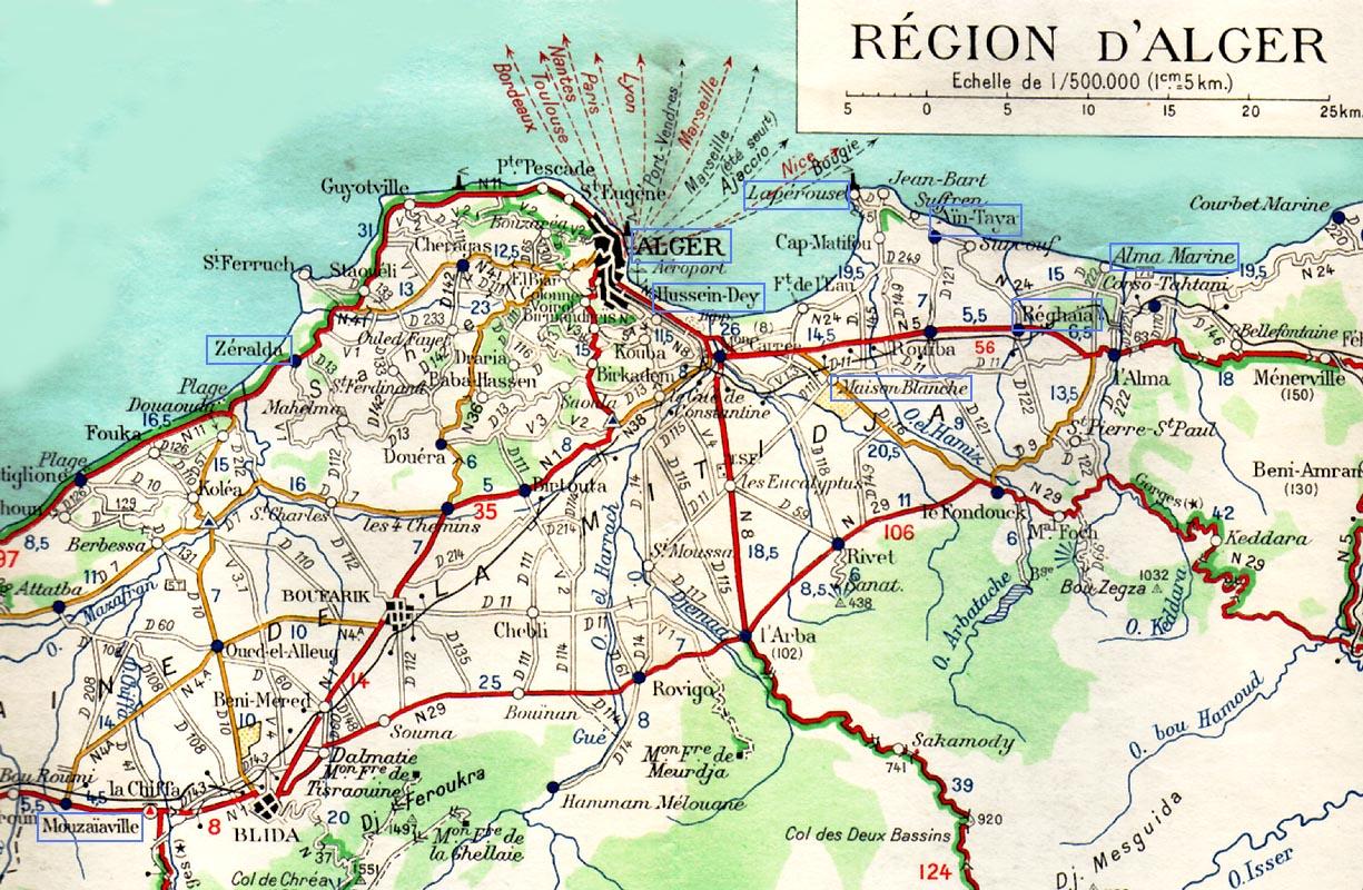 Carte Algerie Aeroports.Memoires De La Guerre D Algerie 1961 1963